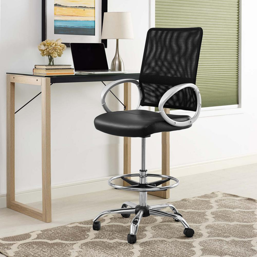modern drafting chair swivel with footrest modway command mesh and vinyl in black eei 2865 blk