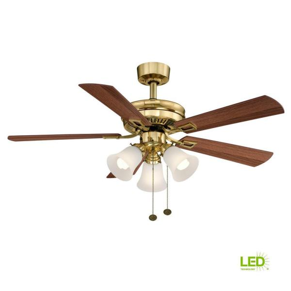 Hampton Bay Sinclair 44 In. Led Indoor Flemish Brass Ceiling Fan With Light Kit-al958-fb