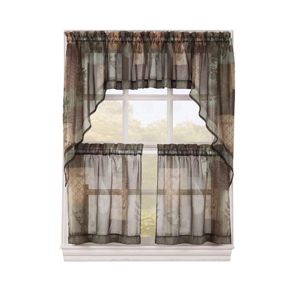 kitchen curtain rugs for hardwood floors lichtenberg sheer sage green eden printed textured tiers 56 in w x 24 l