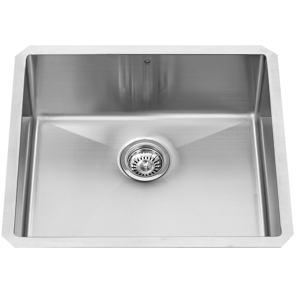 single bowl stainless kitchen sink chair vigo undermount steel 23 in