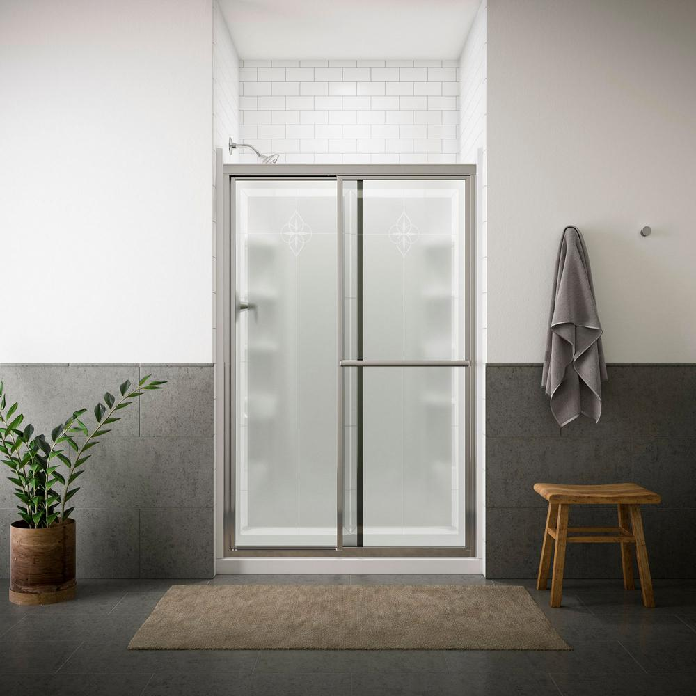 STERLING Deluxe 4878 in x 70 in Framed Sliding Shower Door in Matte Silver with Handle5975