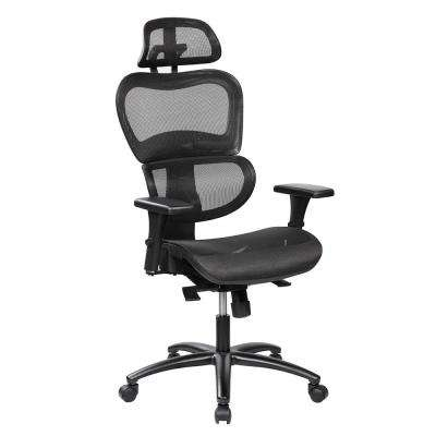 ergonomic chair for home office picnic table and chairs folding furniture the depot black mesh high back executive with neck support