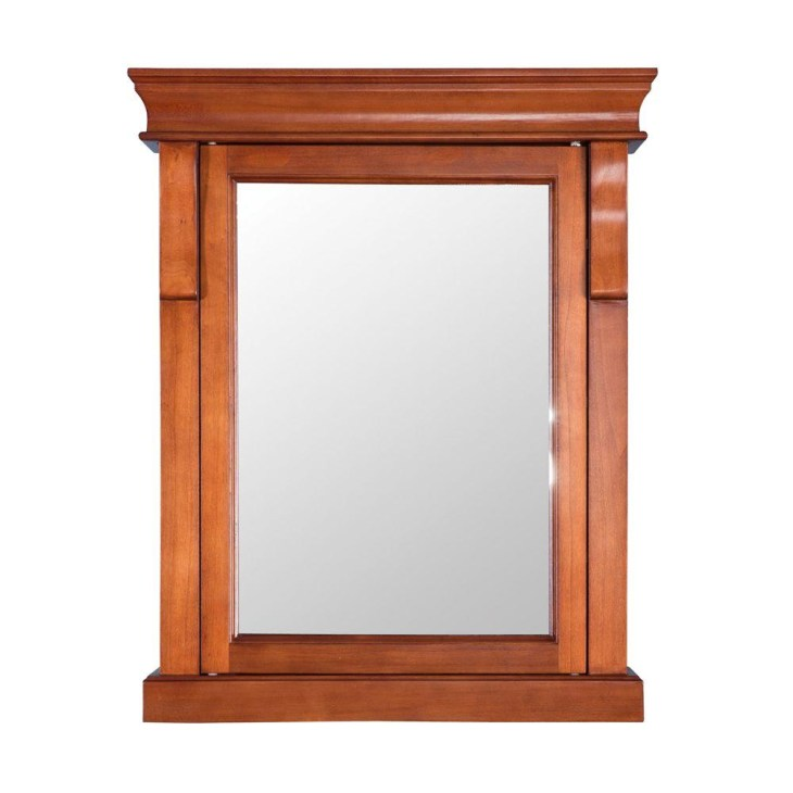 Home Decorators Collection. Naples 25 in. W x 31 in. H x 8 in. D Framed  Surface-Mount Bathroom Medicine Cabinet in Warm Cinnamon