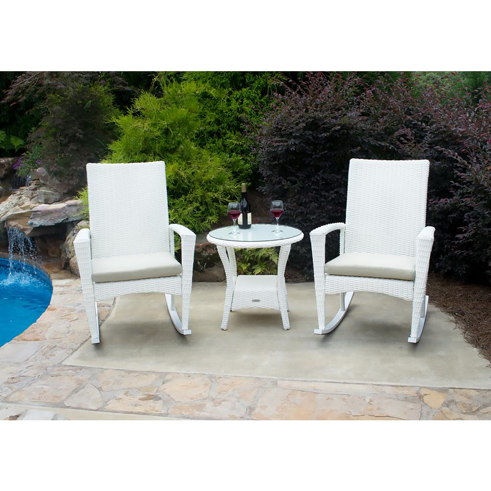 Outdoor Rocking Chair Set Tortuga Outdoor Bayview Magnolia 3 Piece Wicker Outdoor Rocking Chair Set With Tan Cushion