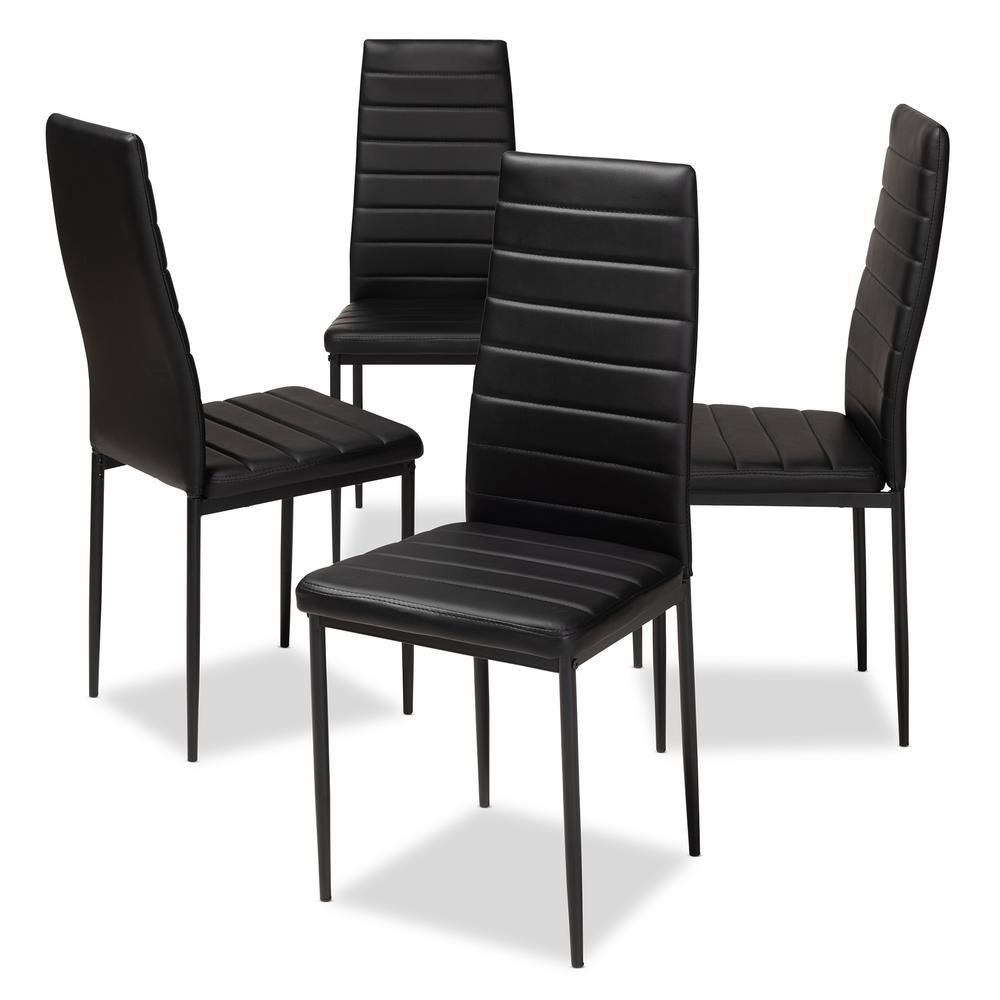 Baxton Studio Armand Black Faux Leather Upholstered Dining