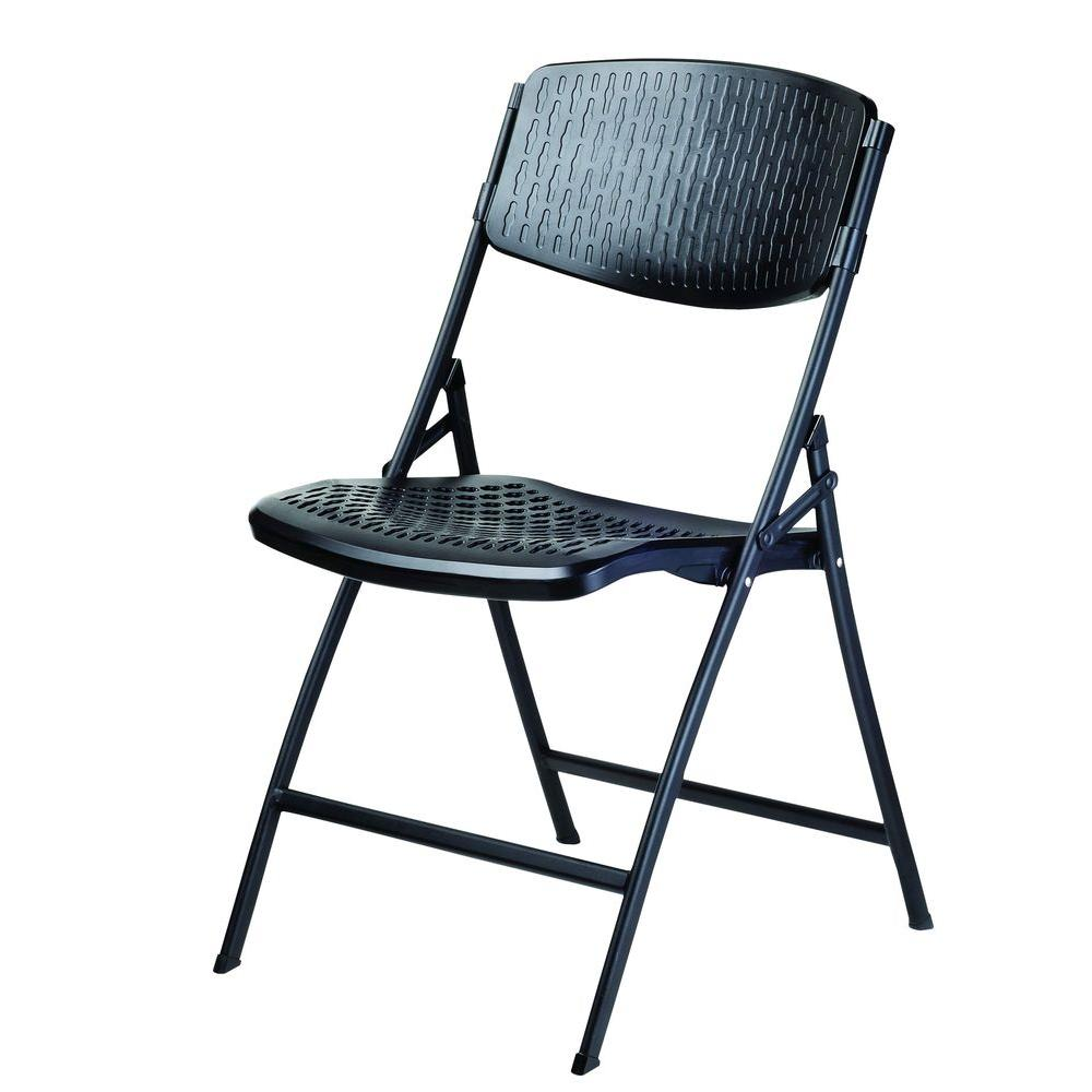 HDX Folding Contour Chair Black 4PackCHR036A  The Home