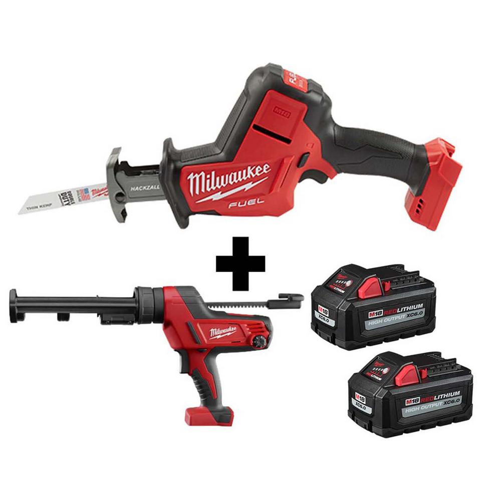 Milwaukee M18 FUEL 18-Volt Lithium-Ion Brushless Cordless HACKZALL Reciprocating Saw & M18 Caulk Gun with Two M18 6.0Ah Batteries-2719-20-2641-20 ...