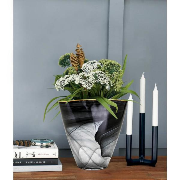 black and gold freeform shape textured glass decorative table vase with rim opening