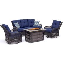 Hanover Orleans 4-piece Wicker Patio Seating Set With Fire