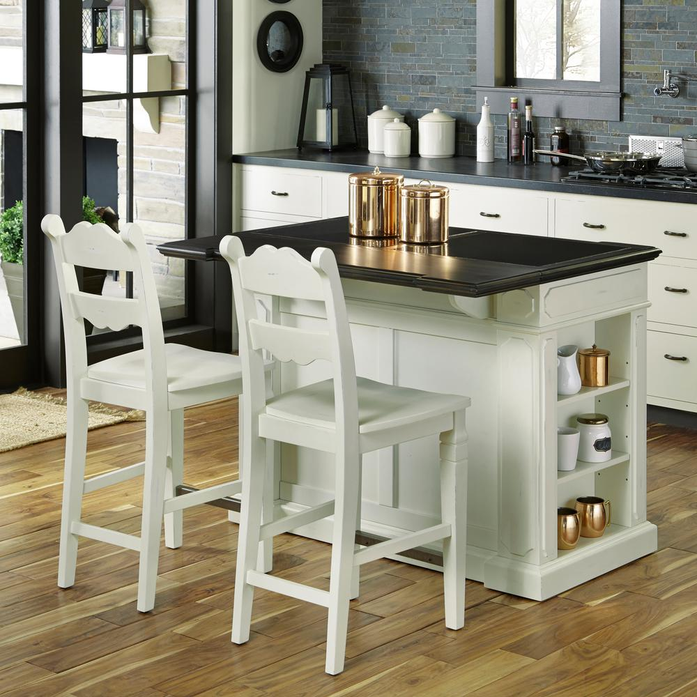 Home Styles Fiesta Weathered White Kitchen Island With Seating 5076