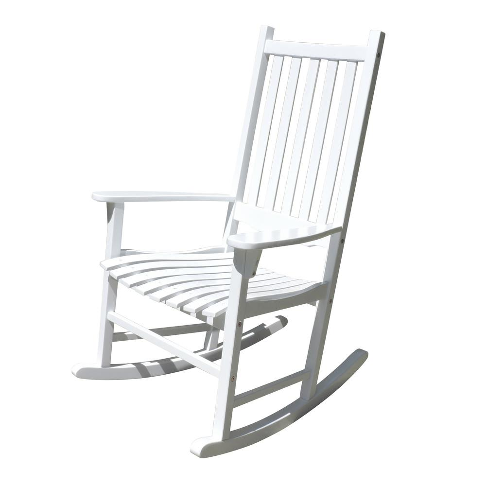 northbeam White Acacia Wood Outdoor Rocking Chair-MPG-PT