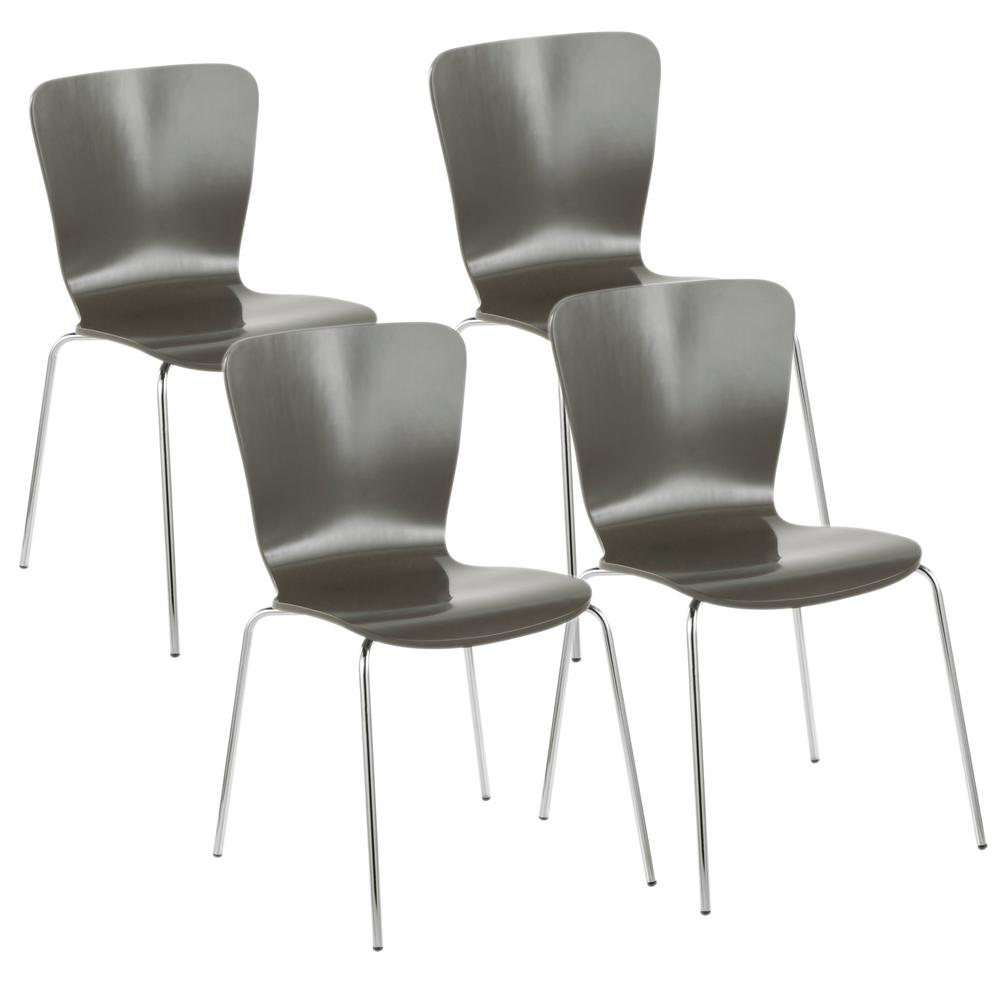bentwood dining chair wedding covers hire london lumisource stacker grey and chrome contemporary set of 4