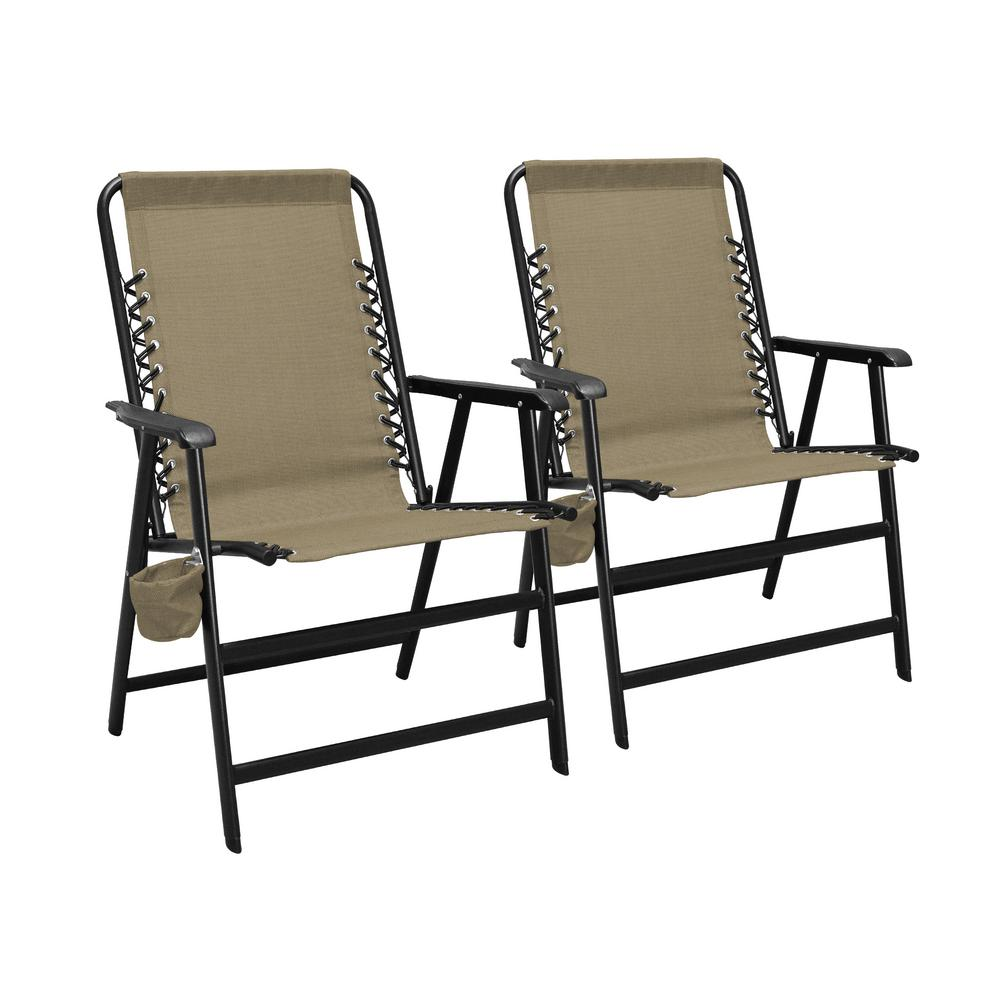 Foldable Lawn Chairs Caravan Sports Xl Suspension Beige Steel Folding Lawn Chair 2 Pack