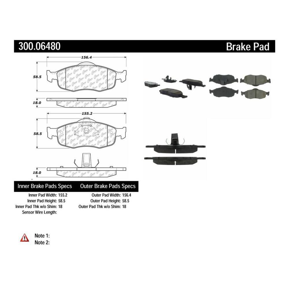 Centric Parts Disc Brake Pad Set 1996-2000 Ford Contour 2