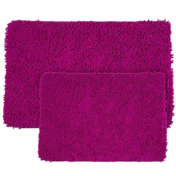 Memory Foam 2-piece Bath Mat Set Shag Pink Fuchsia Plush Bathroom Shower Rugs 886511776562