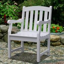 Vifah Bradley Acacia Slatted White Patio Armchair-v1339