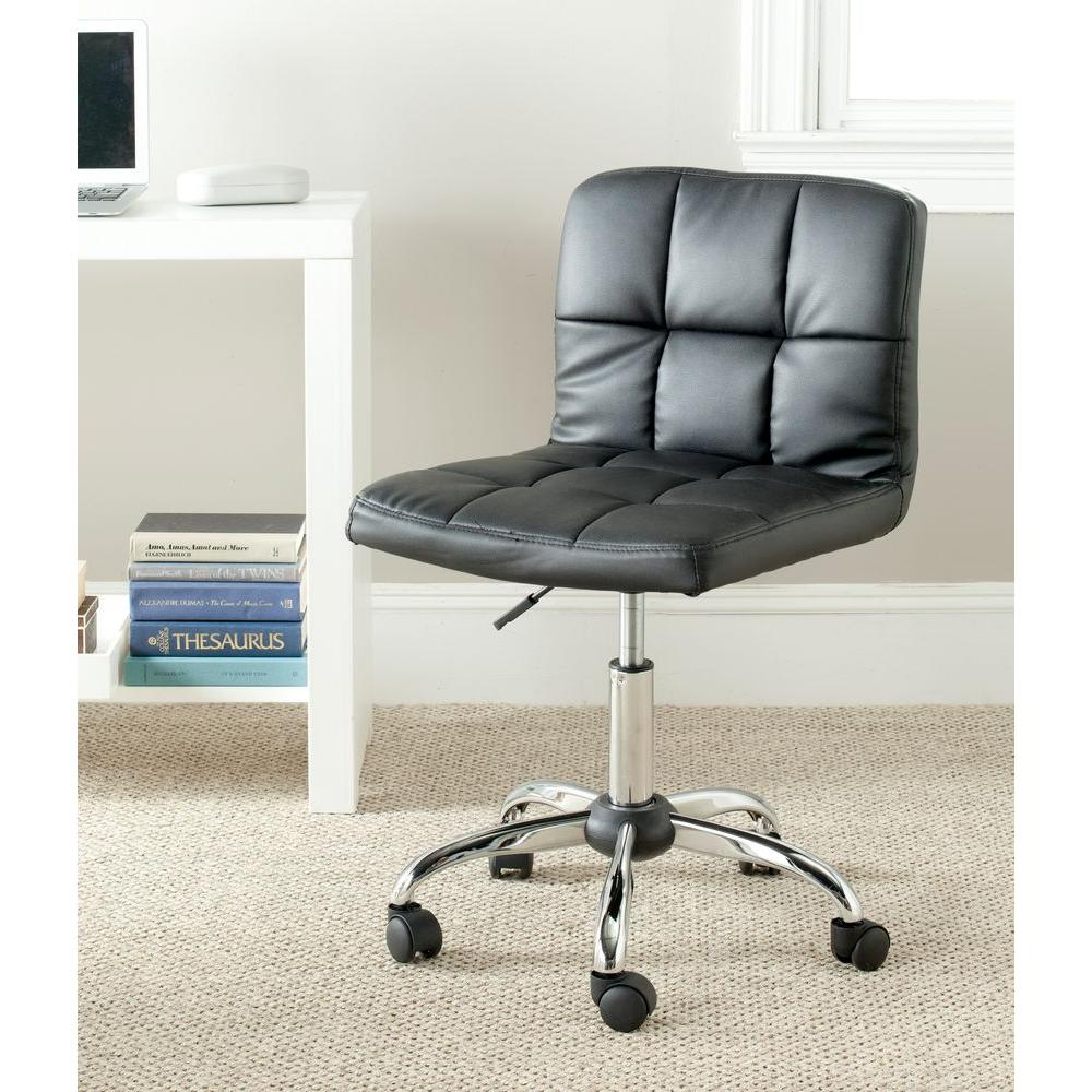 modern grey leather office chair best bean bag chairs for gaming safavieh brunner black faux fox8510a the home