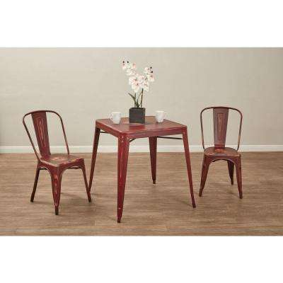 dining table with metal chairs burgundy uk kitchen room furniture the home depot bristow antique red side chair