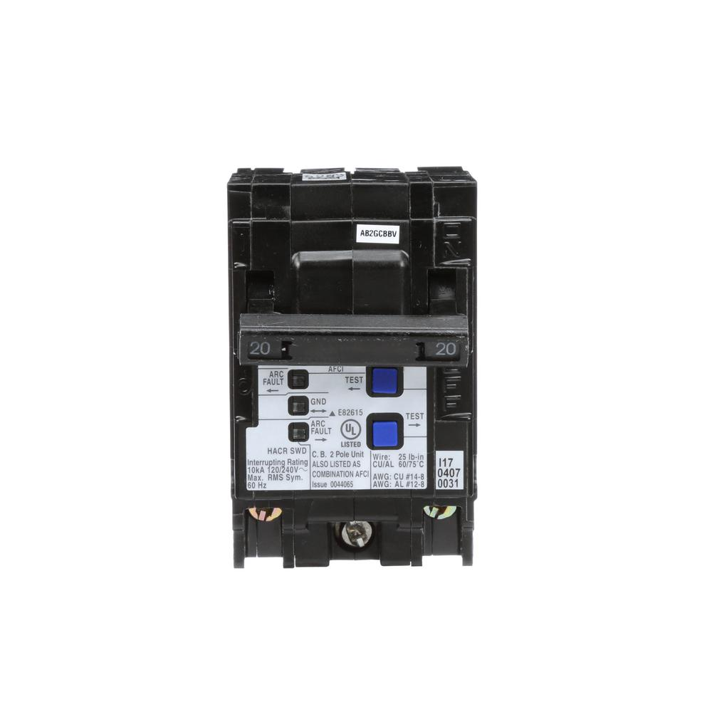 medium resolution of arc fault interrupter circuit breakers power distribution the 20 amp double pole wireguide afci circuit breaker