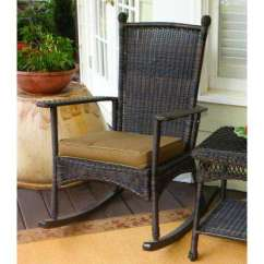 Wicker Rocking Chair Bench Kitchen Table And Chairs Patio The Home Depot Portside Classic Outdoor Dark Roast