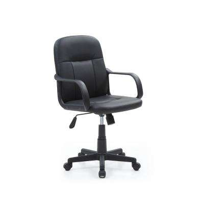 revolving chair for doctor massage cost office chairs home furniture the depot black pu leather mid back