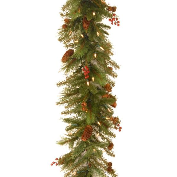 9 Ft. Battery Operated Artificial Poinsettia Garland With 50 Clear Led Lights-bowothd180a