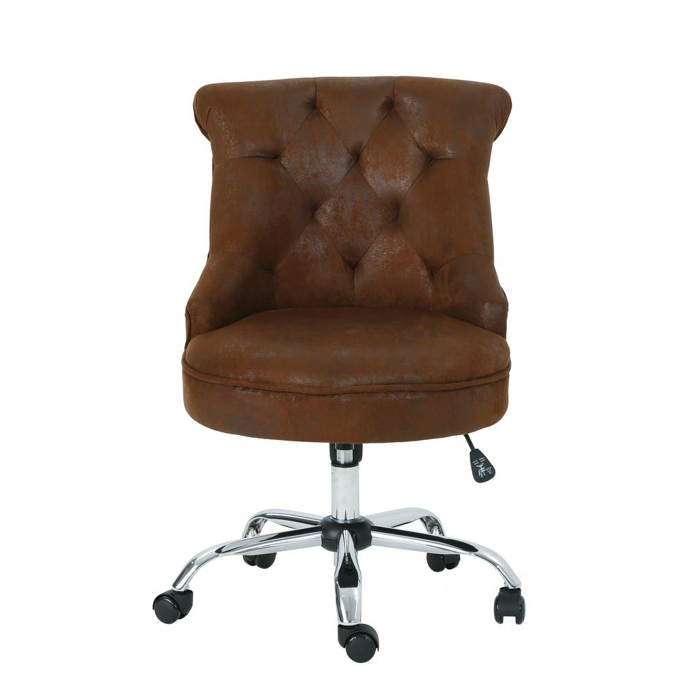 Noble House Auden Tufted Back Brown Microfiber Home Office
