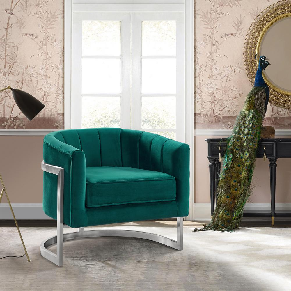 contemporary accent chair fur butterfly armen living kamila green velvet and brushed stainless steel lckmchgreen the home depot
