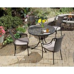 Best Outdoor Dining Chairs Fabric Recliner Argos Home Styles Stone Harbor 5 Piece Round Patio Set With Taupe Cushions