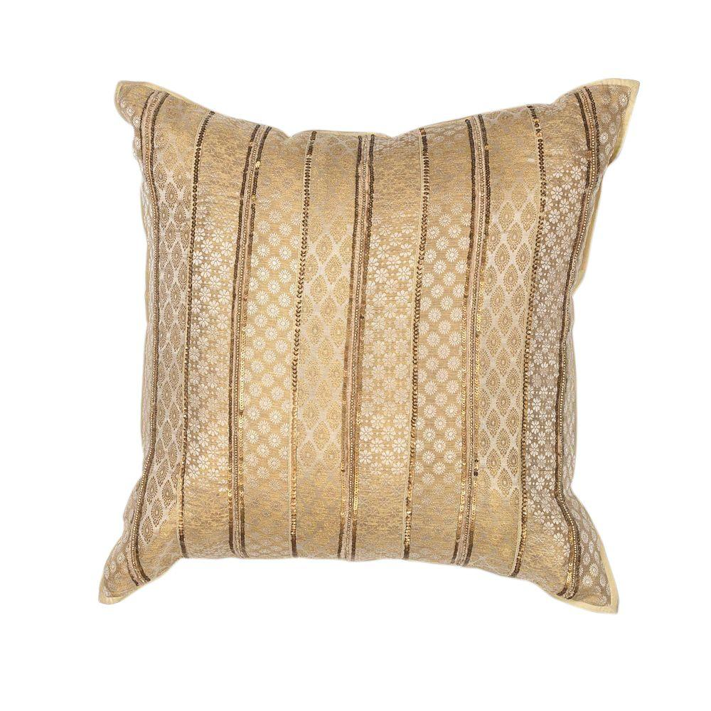 Kas Rugs Formal Stripe Gold Decorative PillowPILL18418SQ
