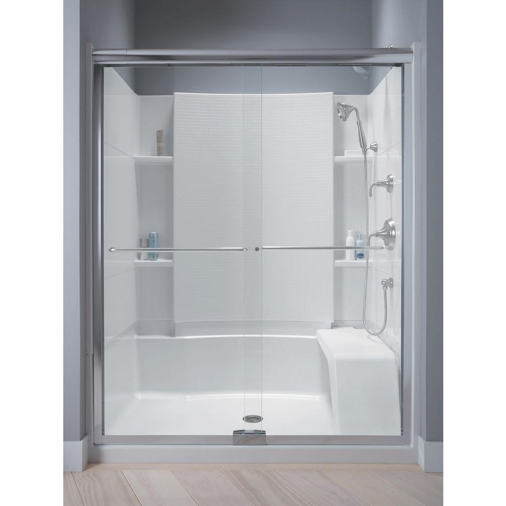 STERLING Finesse 5712 in x 70516 in SemiFrameless Sliding Shower Door in Silver with