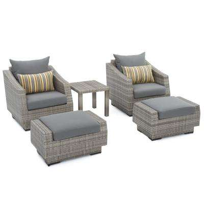 resin wicker chair with ottoman comfortable executive 4 up patio furniture gray bohemian cannes 5 piece club and set charcoal grey cushions