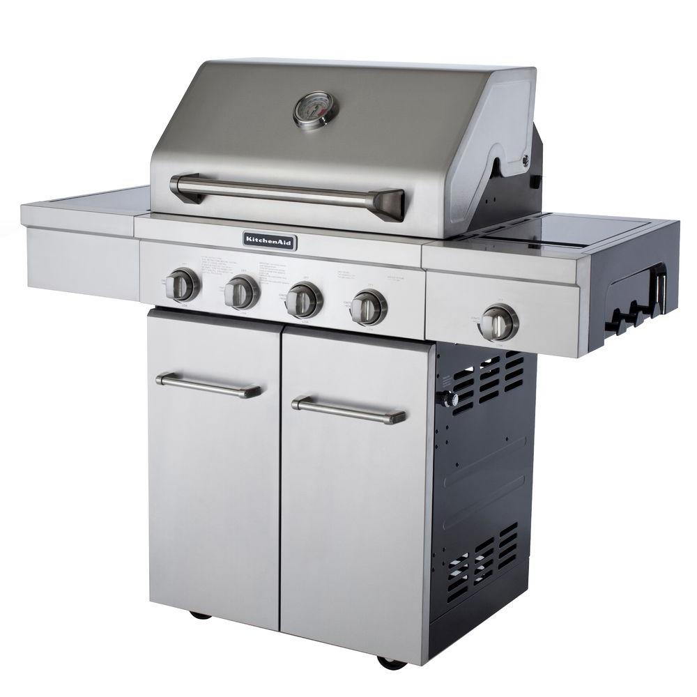 kitchen aid gas grills sink farmhouse kitchenaid 4 burner propane grill in stainless steel with side and cover