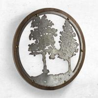 Round Wood And Metal Tree Wall Decor | Wall Plate Design Ideas