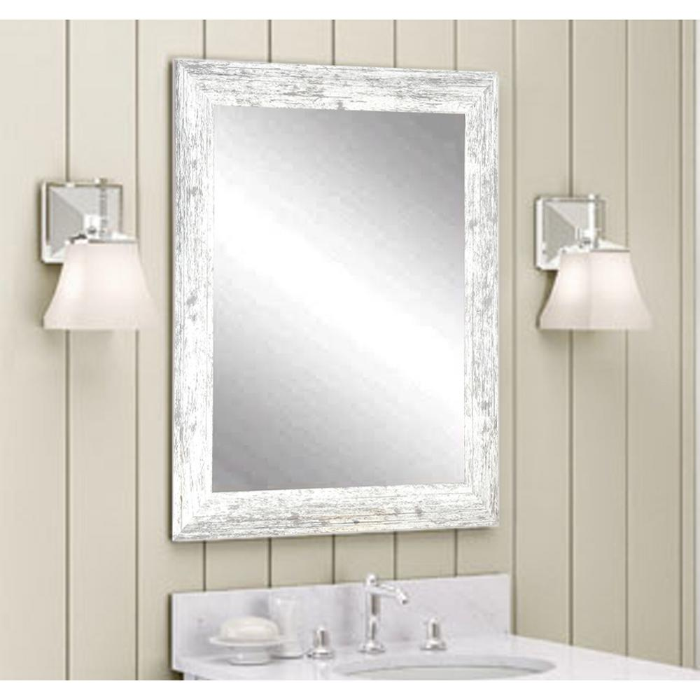 Distressed Decorative Rectangle White Wall Mirror