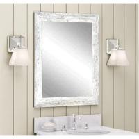 Distressed Decorative Rectangle White Wall Mirror ...