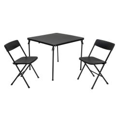 3 Piece Table And Chair Set Office Leather Chairs Cosco Black Folding 37334blk1e The