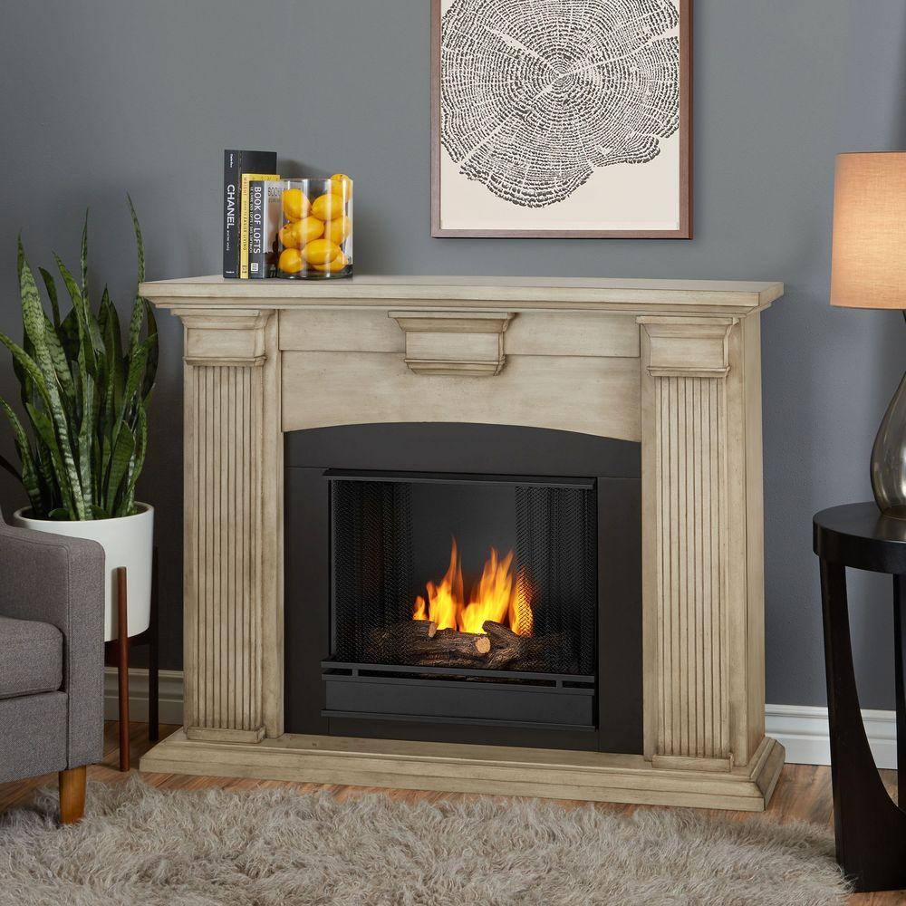 Real Flame Adelaide 51 in Ventless Gel Fireplace in Dry Brush White7920DBW  The Home Depot