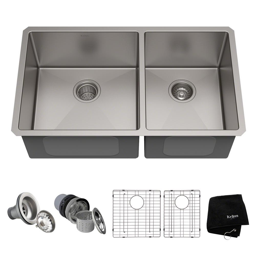 60 40 kitchen sink china pack kraus standart pro 33in 16 gauge undermount double bowl stainless steel