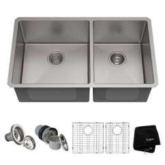Stainless Steel Undermount Kitchen Sinks Target Cabinet The Home Depot Standart Pro 33in 16 Gauge 60 40 Double Bowl Sink