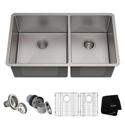 stainless steel undermount kitchen sinks how to make spice racks for cabinets the home depot standart pro 33in 16 gauge 60 40 double bowl sink
