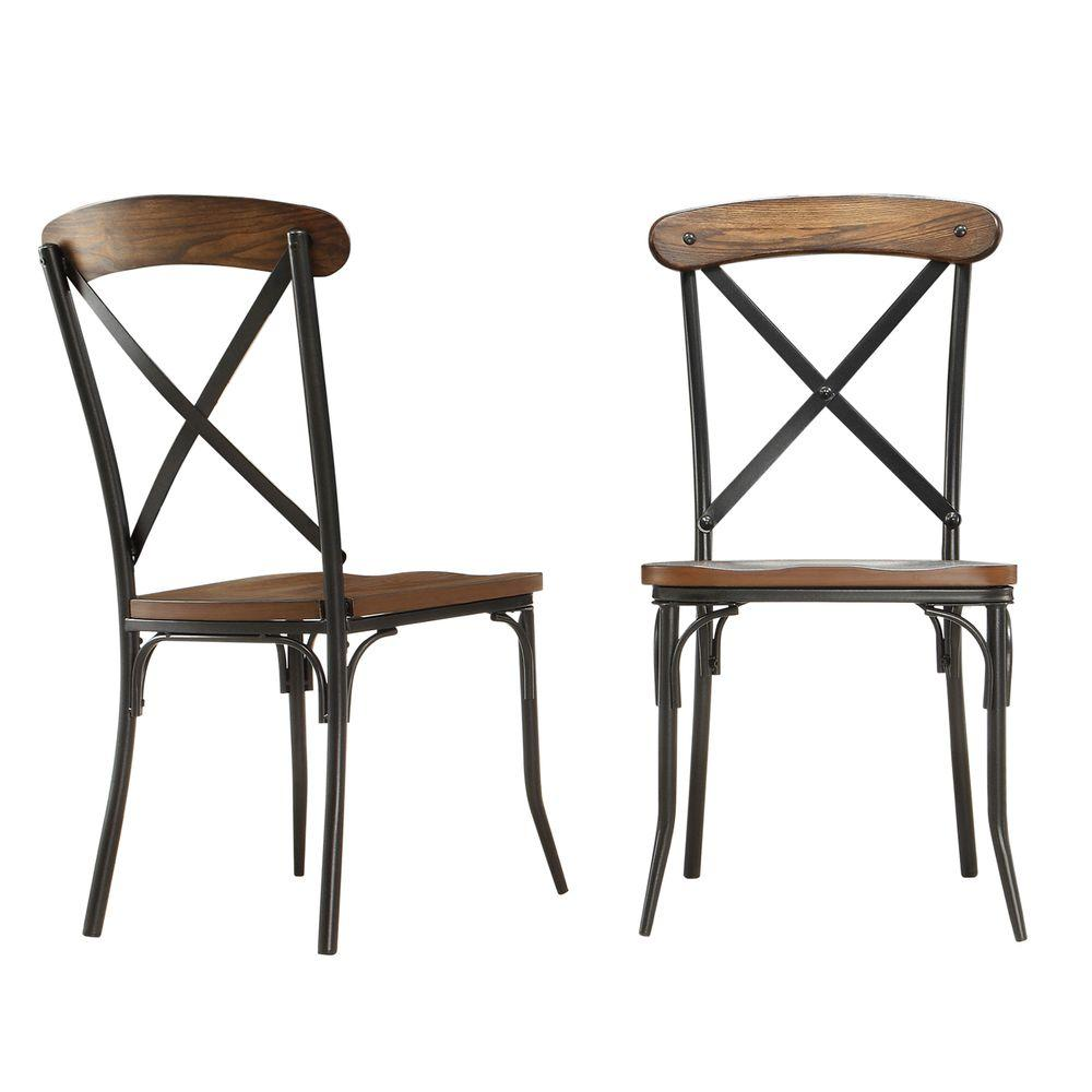 rustic metal dining chairs rocking for porch homesullivan cabela distressed ash wood and chair set of 2