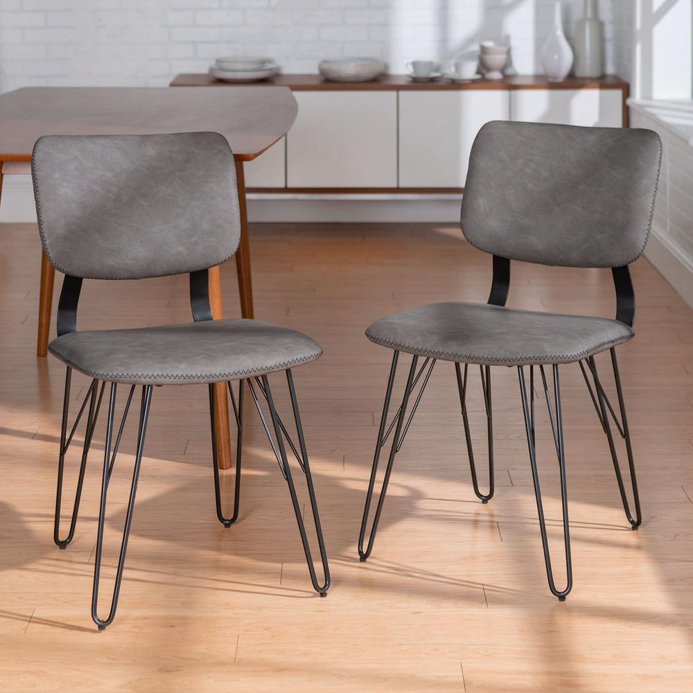 accent dining chairs used salon walker edison furniture company flax back grey chair with black stitching 2 pack