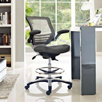 modern drafting chair dining leg glides faux leather office chairs home edge stool in gray