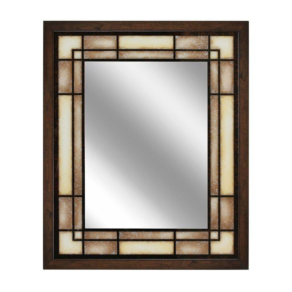 Deco Mirror 26 in W x 32 in H Tea Glass Rectangle Wall Mirror1096  The Home Depot