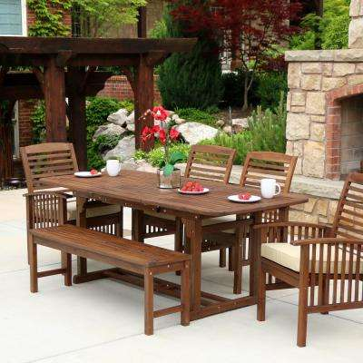 outdoor table and chairs wood maloof low back chair 6 person patio dining sets furniture the home depot boardwalk