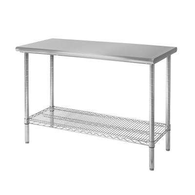 metal kitchen tables art for wall utility table carts islands dining 49 in x 24 commercial nsf stainless steel top worktable