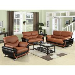 Red And Black Living Room Sets Formal Furniture Two Tone Leather Three Piece Sofa Set Sh216 The Home Depot