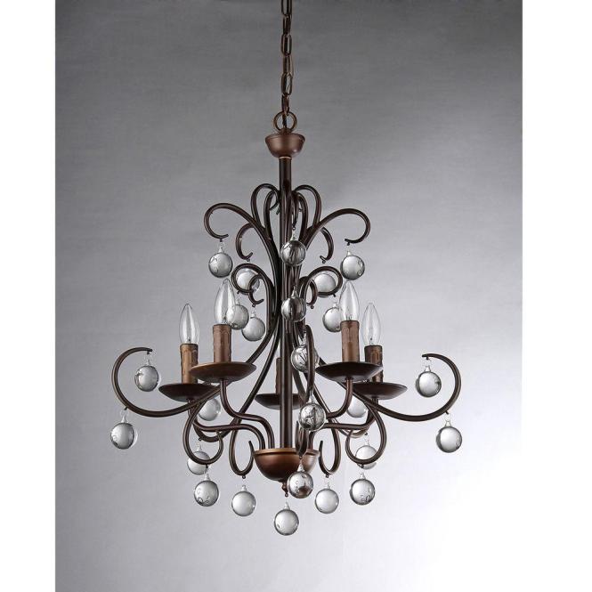 Grace Crystal Drop Curved 5 Light Antique Bronze Chandelier