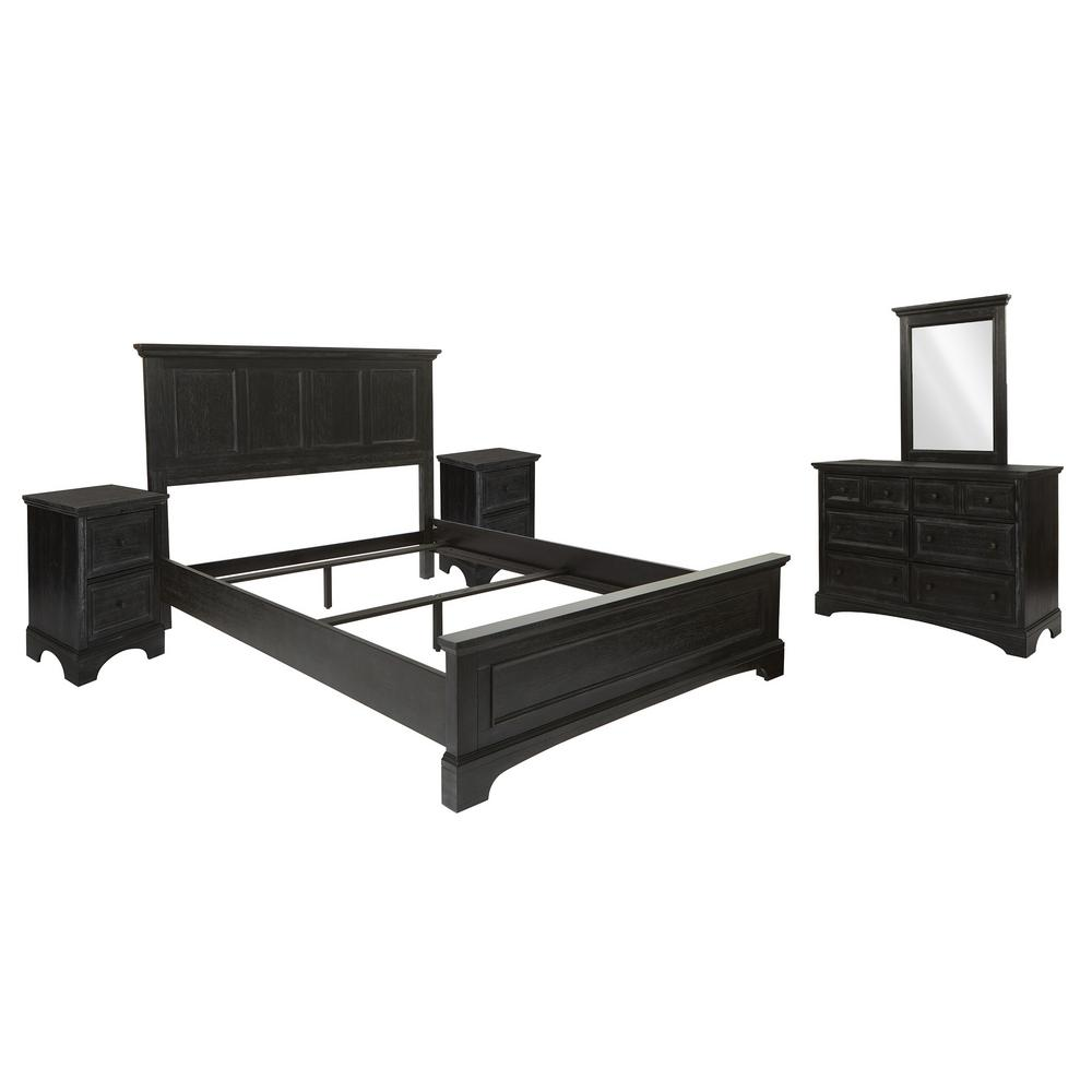 osp home furnishings farmhouse basics rustic black 8 pieces queen bedroom set with 2 nightstands and 1 dresser with mirror bp 4200 213b the home